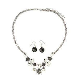 Fashion gray circle crystal necklace earrings set